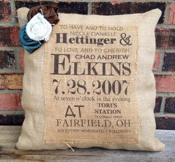 Custom Wedding Gift/Burlap Wedding Pillow
