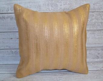 Burlap Metallic Gold Striped Pillow