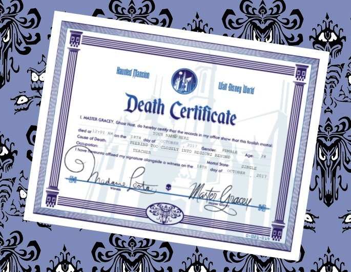Haunted Mansion Customizable Death Certificate Disney World Etsy