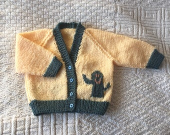 Cute cactus cardigan, hand knitted cardigan, yellow baby cactus top, toddler cactus cardigan, knitted cardigan, toddler sweater,