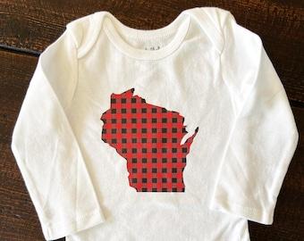 Buffalo Plaid Wisconsin Baby Bodysuit, Wisconsin Born, Wisconsin Baby bodysuit, Black & Red Plaid bodysuit, Wisconsin Roots bodysuit