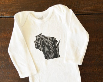 Wisconsin Baby Bodysuit, WI bodysuit, Wisconsin Woodgrain shirt, Wisconsin grown, Wisconsin Love