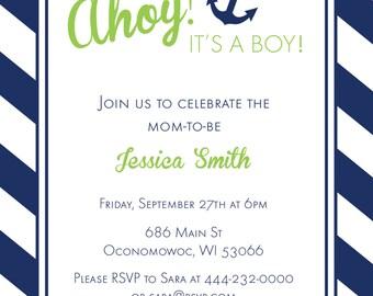 Ahoy, it's a boy - Baby boy nautical shower invitation