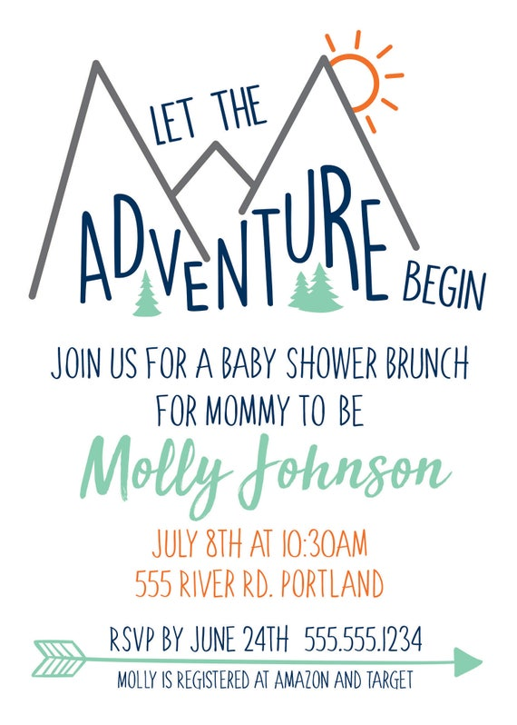 Baby Girl Shower Printable Package A New Adventure is about to Begin Invitation and Digital Party Package Pink Mountain Shower Invites