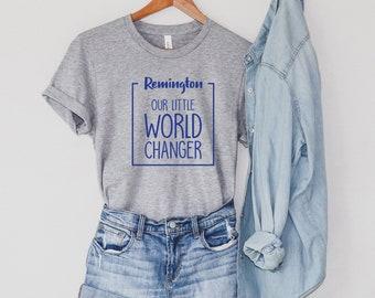 Our Little World Changer, Customized Down Syndrome Awareness Shirt, Proud Parent Tee, Special Needs Parent Shirt