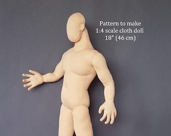 """PDF pattern 1:4 scale, 18"""" muscle man cloth doll 46 cm, DIY posable soft sculpture, miniature mannequin"""