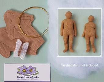 Kit 1:24 scale cloth dolls, two pre-sewn bodies, DIY tiny plus size people, half inch scale posable miniatures, soft sculpture