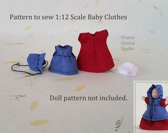 """PDF pattern 1:12 scale baby doll clothes, fits 2.25"""" (6 cm) doll not included, DIY frontier style prairie pioneer outfit"""