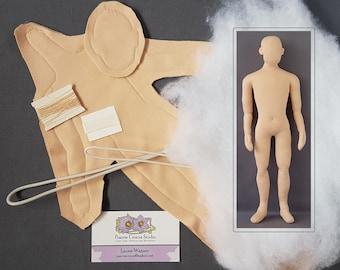 "Kit 1:6 scale 12"" man 30 cm cloth doll, pre-sewn body, DIY posable miniature mannequin, soft sculpture materials, handmade"