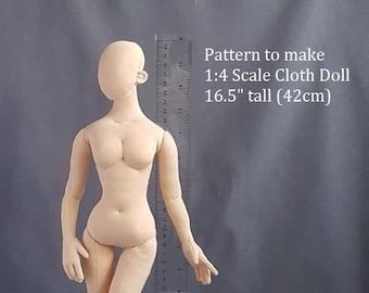 """PDF pattern 1:4 scale 16.5"""" woman fairy elf 42 cm cloth doll, DIY posable miniature mannequin, soft sculpture"""