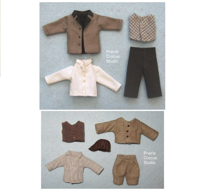 one inch scale miniature frontier style DIY prairie pioneer costumes PDF pattern 1:12 scale doll clothes