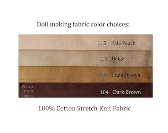 "Fabric 16"" x 32"" cotton stretch knit, cloth doll skin by De Witte Engel, doll jersey 40 cm x 80 cm, soft sculpture"