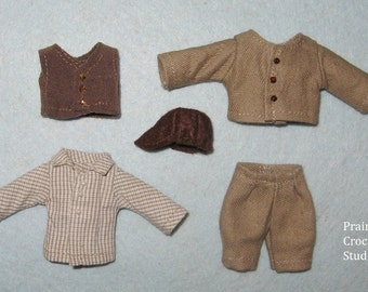 """PDF pattern 1:12 scale doll clothes for 4"""" child 10 cm, DIY prairie pioneer boy costume, inch scale miniature frontier style suit"""