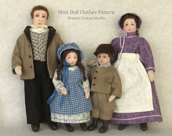 PDF pattern 1:12 scale doll clothes, DIY prairie pioneer costumes, inch scale miniature, frontier style outfits