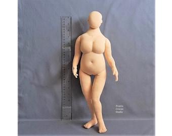 "1:4 scale cloth doll, 16.5"" plus size woman or elf fashion doll 42 cm, posable miniature mannequin, soft sculpture, handmade"