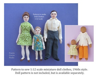 PDF pattern 1:12 scale doll clothes, DIY 1960s style costumes, inch scale miniature sewing, wearable