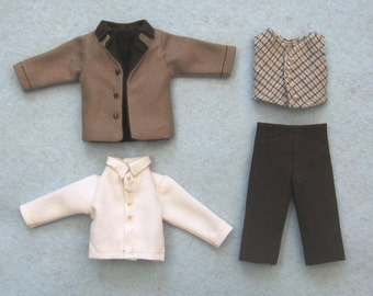 """PDF pattern 1:12 scale doll clothes, fits 6"""" man 15 cm, DIY prairie pioneer costume, inch scale miniature frontier style"""