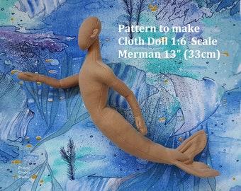 """PDF pattern 1:6 scale Merman 13"""" cloth doll 33 cm, DIY male miniature mannequin, posable soft sculpture"""