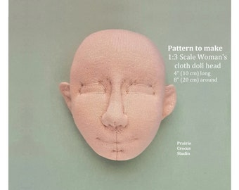 "PDF pattern 1:3 scale cloth doll head, 4"" high 10 cm, DIY woman 3D  face, elf and human ears, soft sculpture"