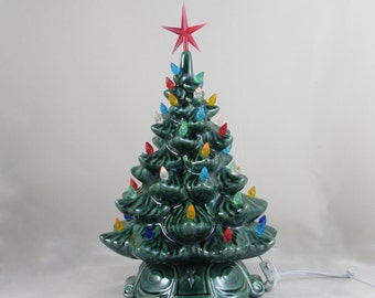 medium vintage style glazed ceramic christmas tree 13 inches with base hand made painted pine tree