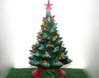 small ceramic christmas tree 10 inches with base hand made pine tree with light kit
