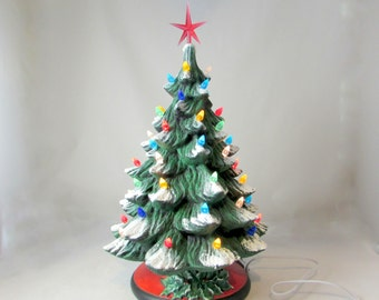 large ceramic christmas tree 16 inches with base hand made pine tree with light kit