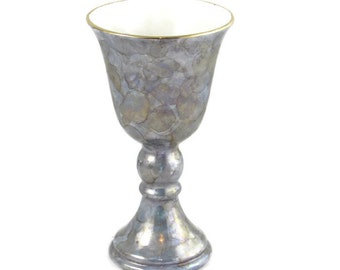 READY TO SHIP Marble Lustre Mother of Pearl Effect Wine Glass or Goblet with Real gold trim, hand painted, 7.5 inches
