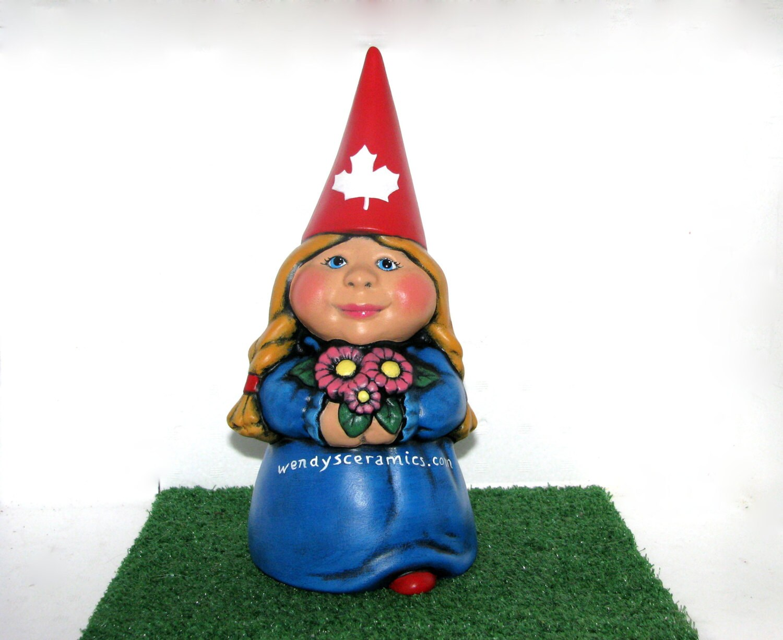 Female Gnome: Custom Ceramic Female International Garden Gnome 11 Inches