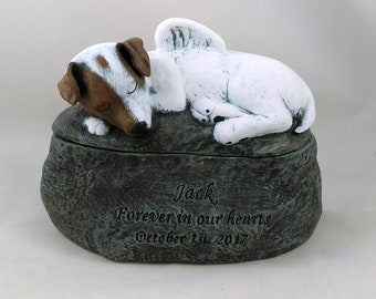 Ceramic Engraved Custom Jack Russell Terrier Painted Cremation Urn - hand made pet urn