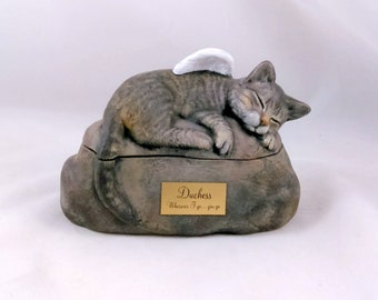 Ceramic Engraved Painted Cat Cremation Urn with Plastic Name Plate- hand made pet urn