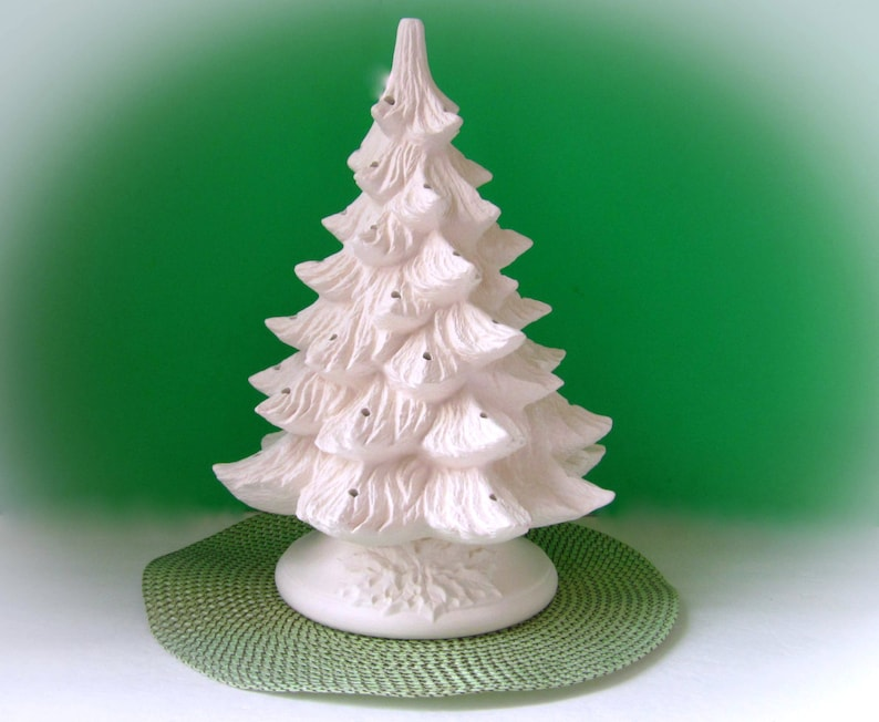 Large Ceramic Christmas Tree Unpainted Bisque With Holly Leaf Base Large Pine Tree 16 Inches With Base