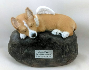 Corgi Breed - Ceramic Hand Sculpted and Painted Dog Cremation Urn  -Pet hand made urn