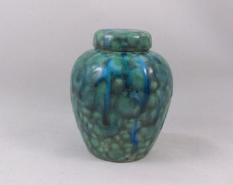 """Ready to Ship """"Blue Azure"""" Glazed Ginger Jar Ceramic Pet Urn, small animal, cat, small dog, Hand made -4.5 inches tall"""