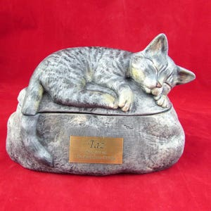 Ceramic Engraved Painted Cat Cremation Urn with Plastic ...