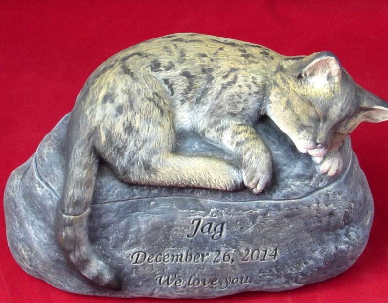 Bengal Cat Ceramic Engraved Painted Cremation Urn hand ...