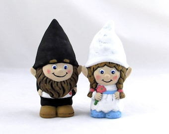 Custom Painted Gnome Cake Topper Set for Weddings - 5 inches, bisque lawn or garden gnome, outdoor or indoor, wedding cake toppers
