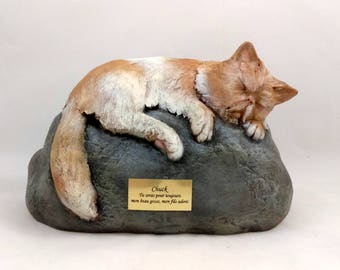 custom for julie Ceramic Engraved Painted medium - long haired Bottom Loading Cat Cremation Urn - hand made pet urn