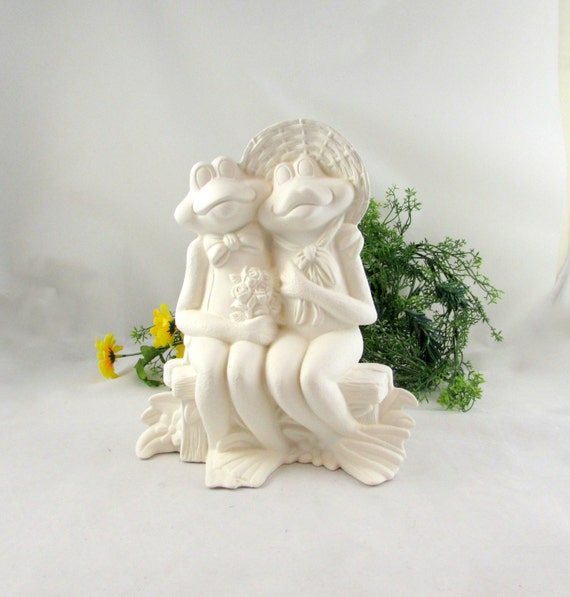 Ceramic Ready To Paint Two Frogs Sitting On A Bench 10 Etsy
