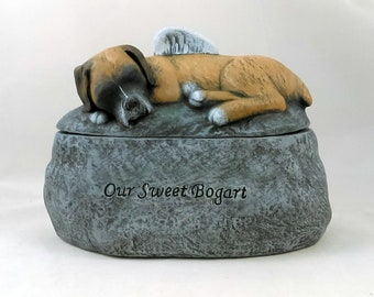 Ceramic Hand Sculpted and Painted Dog Cremation Urn  -Pet hand made urn