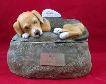 custom for shana Ceramic Custom Two Piece Beagle Painted Dog Urn with a Name Plate-hand made urn