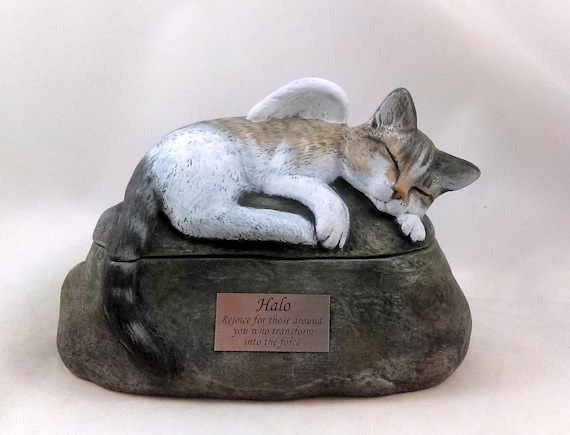 hand made pet urn Ceramic Engraved Painted Cat Cremation Urn with Plastic Name Plate