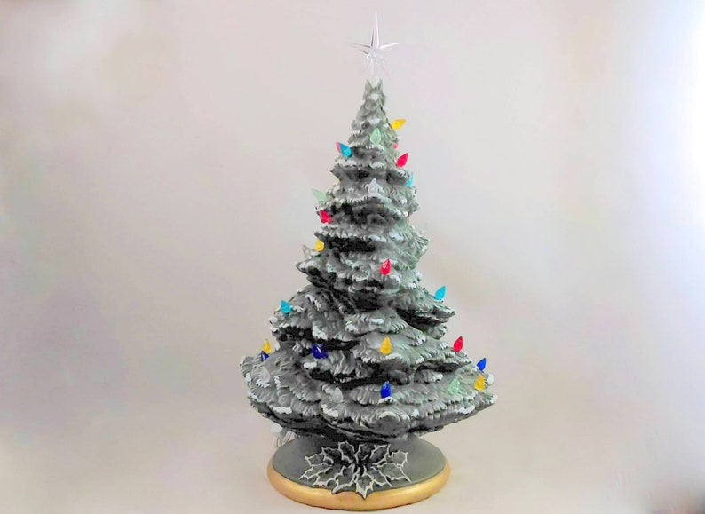 Large Modern Ceramic Christmas Tree With Base And Colored Lights 18 19 Inches With Base Hand Made Pine Tree With Light Kit