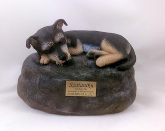 Custom Dog Breed - Ceramic Hand Sculpted and Painted Dog Cremation Urn  -Pet hand made urn