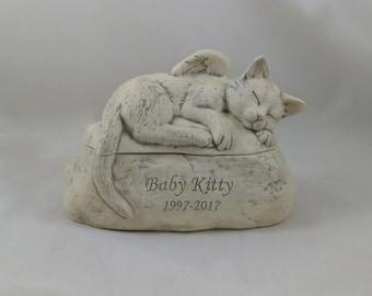 Grey Antiqued Ceramic Engraved Painted Cat Cremation Urn - hand made pet urn