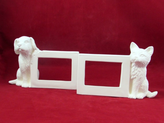 Set Of Two Ceramic Ready To Paint Dog And Cat Picture Frames Etsy