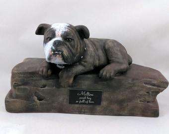 Custom Paint Bulldog Cremation Urn  -Pet hand made urn