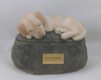 Golden Retriever Labrador - Ceramic Hand Sculpted and Painted Dog Cremation Urn  -Pet hand made urn