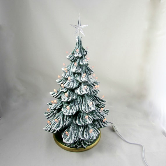 Christmas Tree White Lights.Large Ceramic Frosty Christmas Tree With All White Lights 16 Inches With Base Hand Made Pine Tree With Light Kit