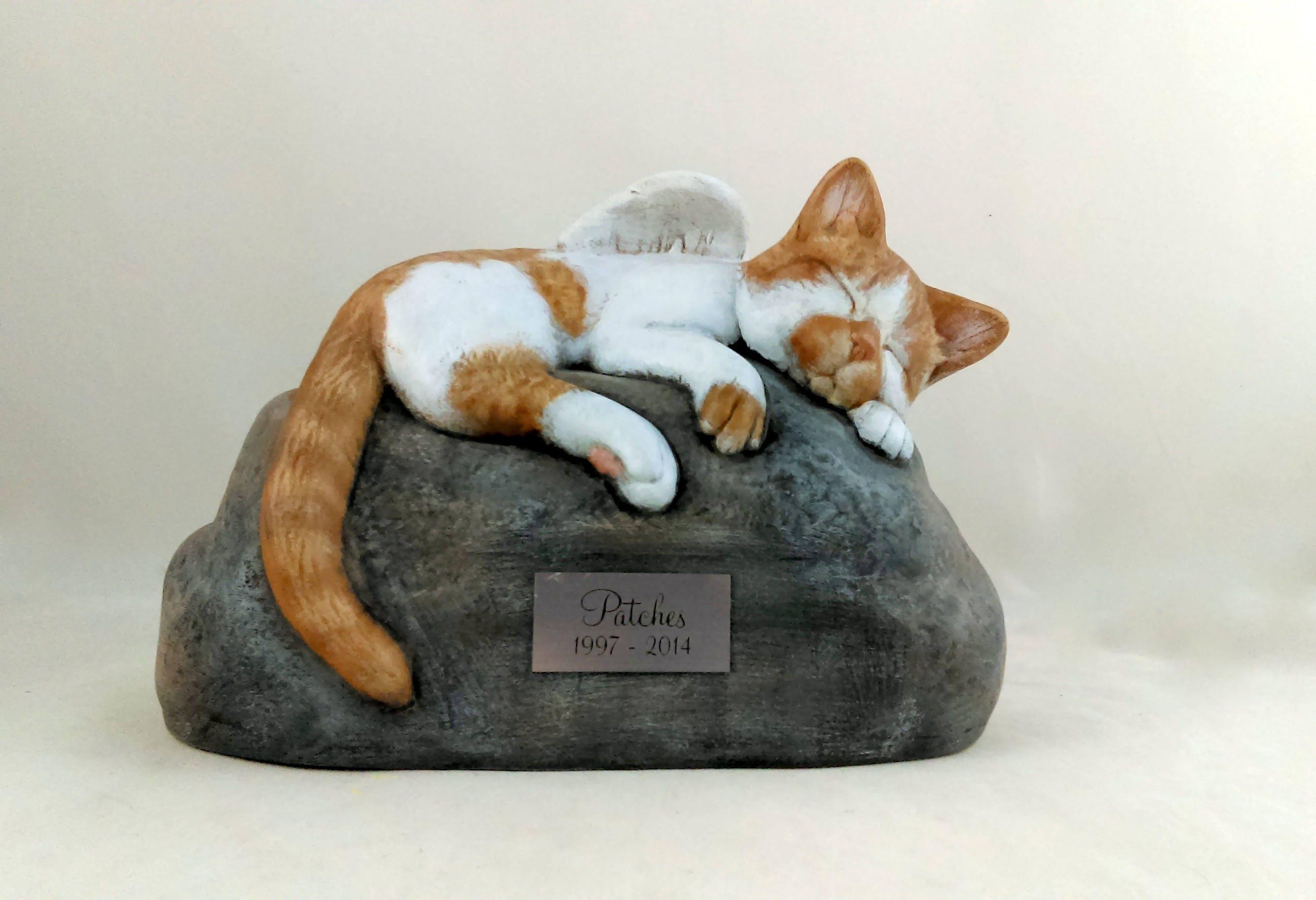 Ceramic Engraved Painted Bottom Loading Cat Cremation Urn ...