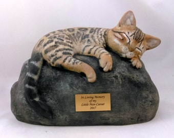 Ceramic Engraved Painted Bottom Loading Bengal Cat Cremation Urn with plastic name plate- hand made pet urn